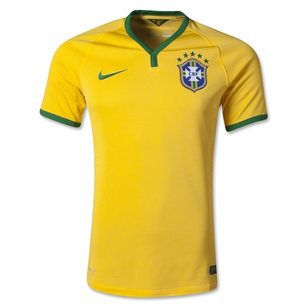 1dbc2f8dcad Supplied by Nike, Brazil's famous Yellow and Green jerseys have received a  slight 2014 update with a smaller collar, green cuffs and sharper green  numbers.